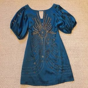 Nanette Lepore teal silk embroidered dress